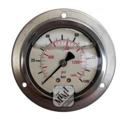 Manomètre 0-100 bar PA Ø63mm à collerette / glycérine -...