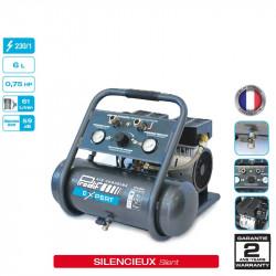 Compresseur coaxial silencieux 0.75CV 6L 8 bars 230V -...