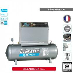 Compresseur silencieux 5.5CV 11 bars cuve 500L 400V -...