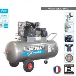 Compresseur à courroie 3CV 200L 9 bars 230V - 18.6 m³/h -...
