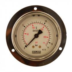 Manomètre 0-16 bar PA Ø63mm à collerette / glycérine - N1269