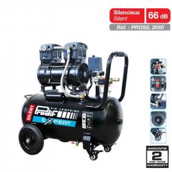 Compresseur 50L 2CV silencieux + 2 filtres - PROSIL2050