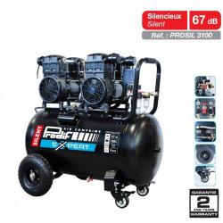 Compresseur 100L 3CV silencieux + 2 filtres - PROSIL3100